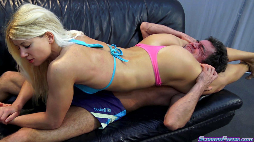 Mixed wrestling sexy head scissor in lycra shorts 10
